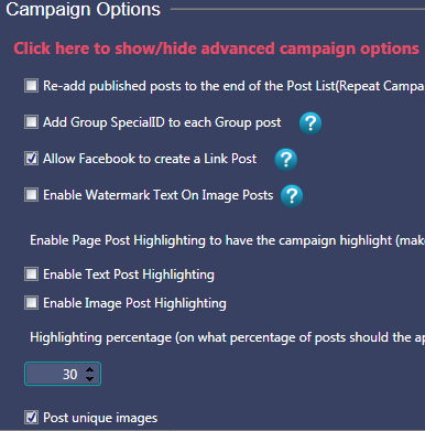 how to enable post unique images in mass planner for facebook